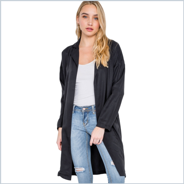 100% Tencel Open Blazer Coat - Black