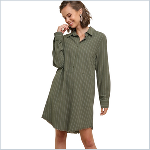 100% Cotton Striped Long Sleeve Collared Shirt Dress w/Frayed Scoop Hem and Pockets - Olive