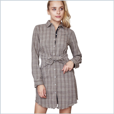 100% Cotton Button Down Shirt Dress w/Frayed Hem - Brown Plaid