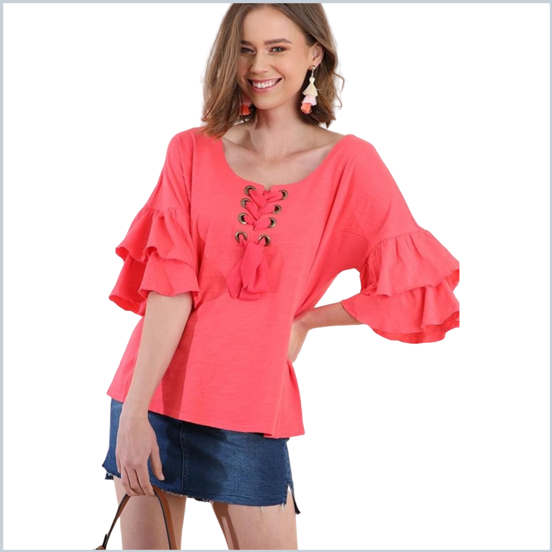 100% Cotton Layered Ruffle Sleeve Top w/Lace Up Neckline - Coral