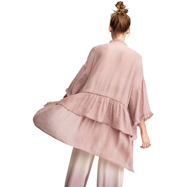 100% Tencel Semi Sheer Double Ruffled Long Flowy Cardigan - Dusty Rose