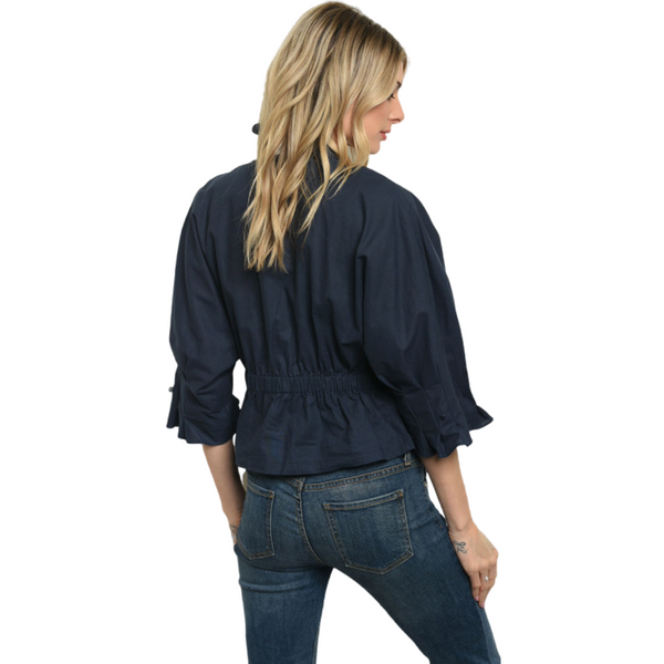 100% Cotton 3/4 Sleeve Cinched Waist V-Neck Button Down Top - Navy