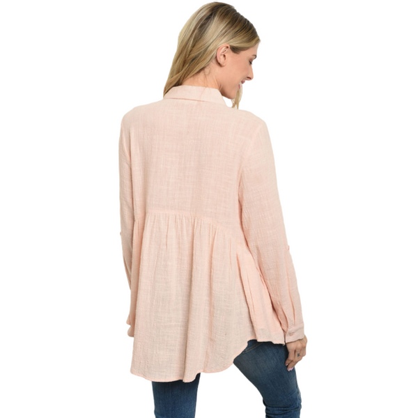 100% Cotton Long Sleeve Button Down Baby Doll Top - Peach
