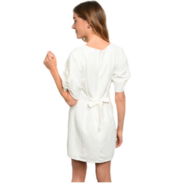 Cotton V-Neck Mini Dress w/Twisted Knot Sleeves and Tie Back- White