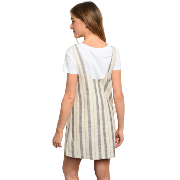 100% Cotton Adjustable Striped Jumper - Cream/Taupes
