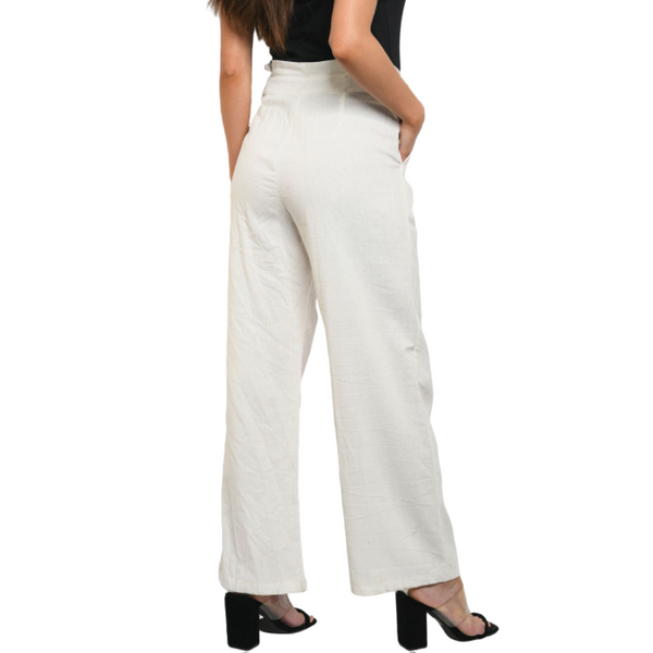 Cotton/Linen Blend High Waisted Wide Leg Pants w/button front detail - CREAM