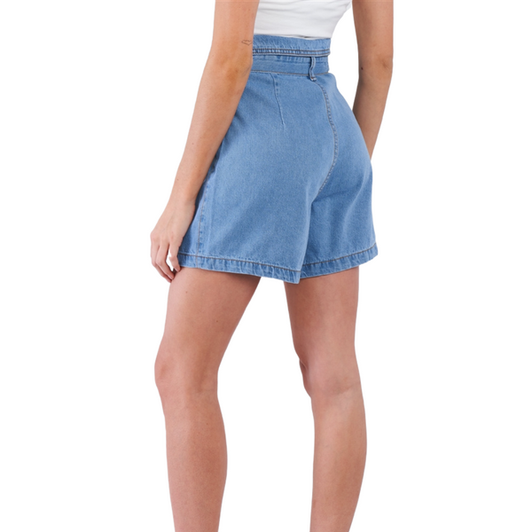 100% Cotton Collared High Waisted Jean Shorts w/attached Belt - Light Denim Blue