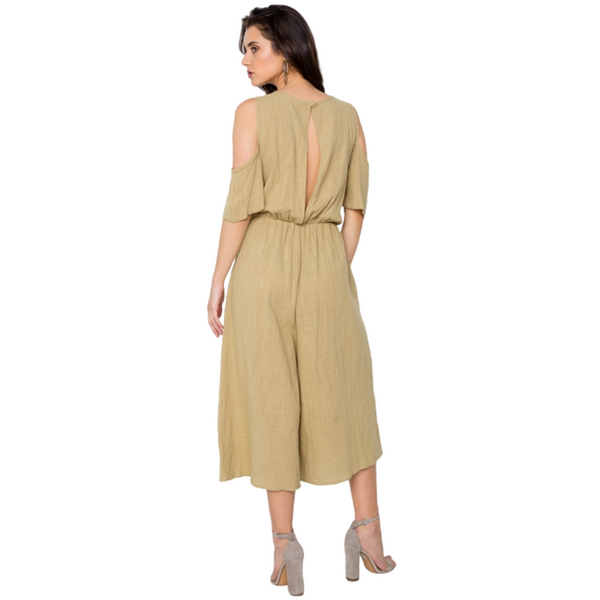 100% Cotton Cold Shoulder Capri Boho Jumpsuit - Mustard Olive