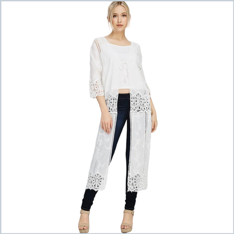 100% Cotton Crocheted Tie Front Long Line Cardigan- White