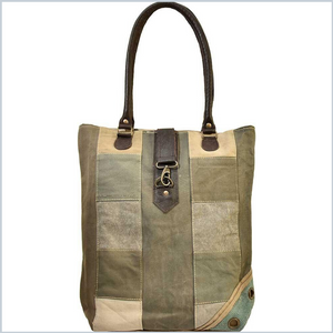 RECYCLED TENT PATCHWORK TOTE - EARTHTONES
