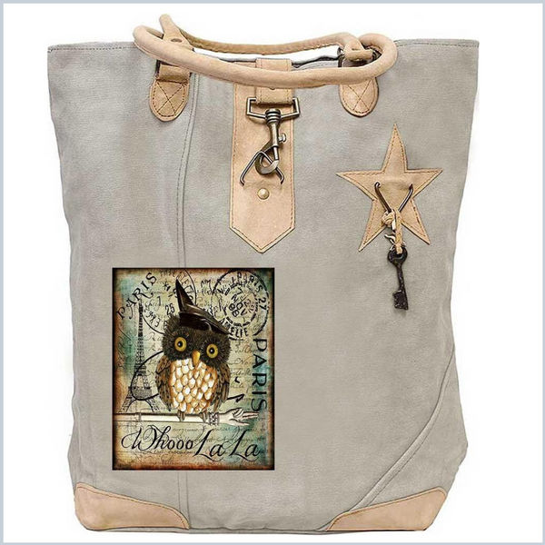WHO LA LA OWL CANVAS TOTE