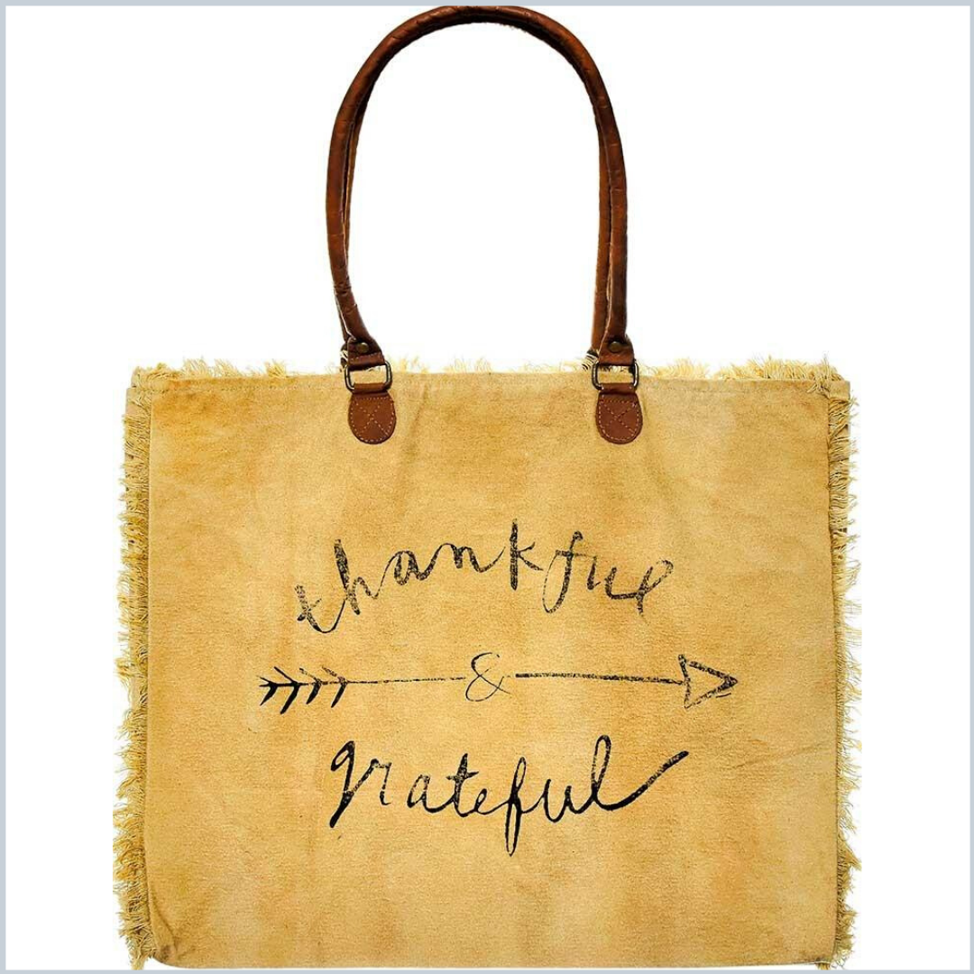 Thankful and Grateful Large Canvas Tote - Tan