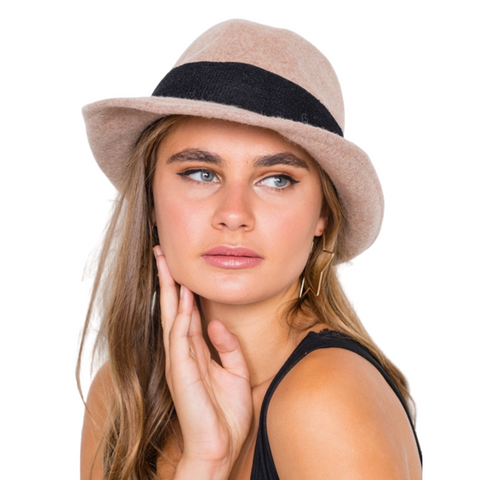 CONTRAST TRIM FEDORA HAT - TAN