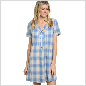 100% Cotton Ivory/Blue Checkered Dress