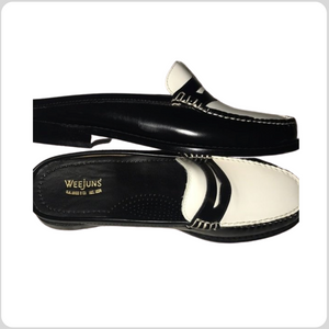 Black and White Weejuns Leather Loafers