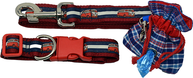 All American Leash, Collar & Poo Bag Dispenser Set