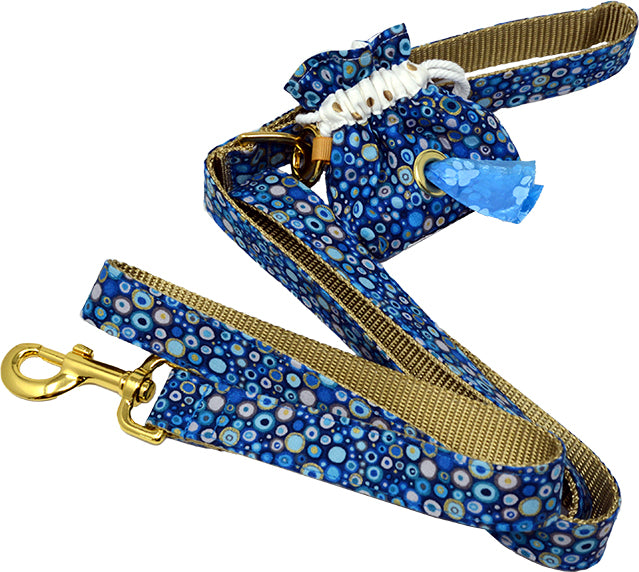 Blue Pebbles Leash, Collar & Poo Bag Dispenser Set