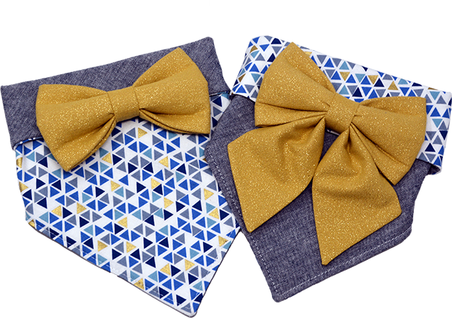 Geometric Gold Bandana & Bow Set