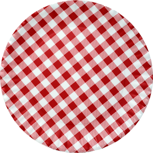 Red Gingham Melamine Serving Platter 16""