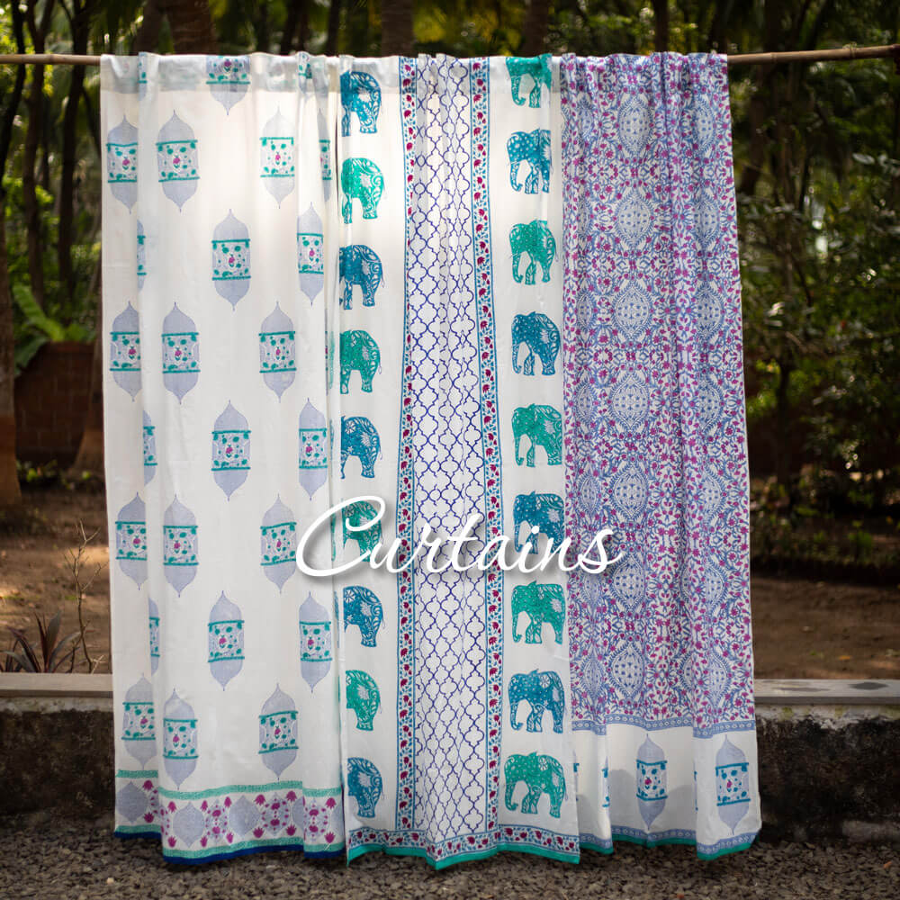 Hand Block Print Cotton Curtains Door Window - Pinklay