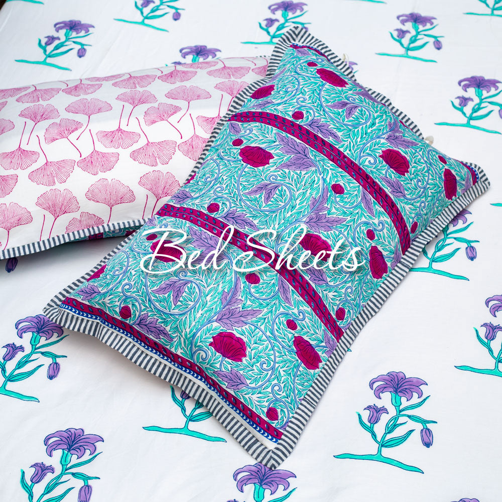 Cotton Hand Block Print Bedsheets and Pillow Covers Single Double King Queen - Pinklay
