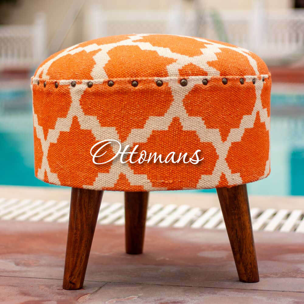 Wooden Ottomans Accent Small Furniture - Pinklay