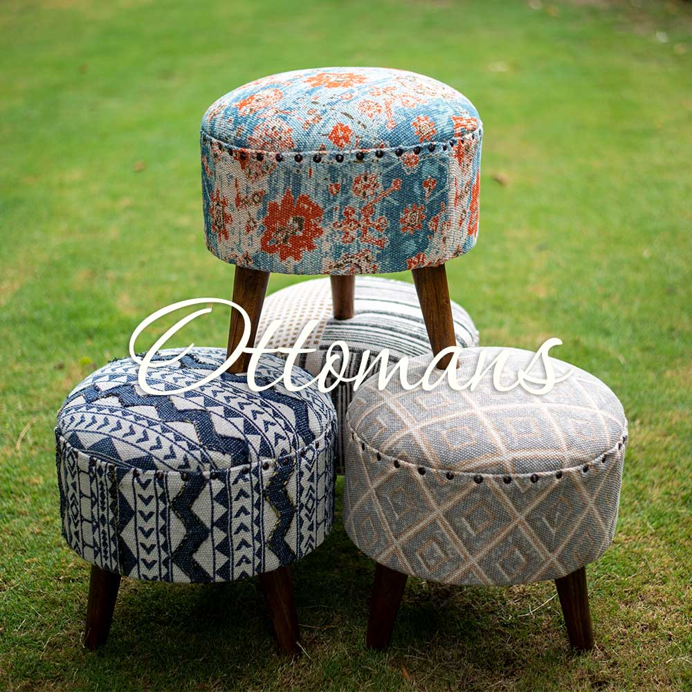 Ottomans Stools Upholstered Wooden Furniture - Pinklay