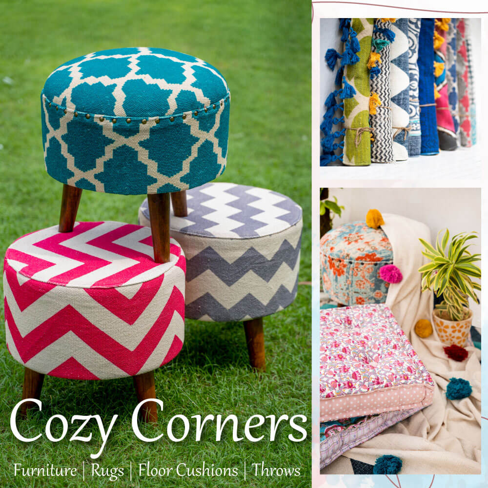 Lower Seating Essentials Ottomans Rugs Floor Cushions - Pinklay