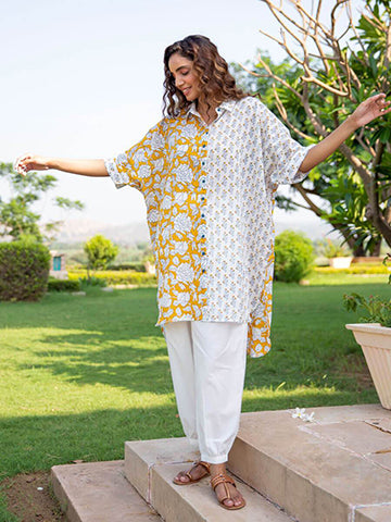 Summer Rose Over-Sized Asymmetrical Cotton Long Shirt - Pinklay