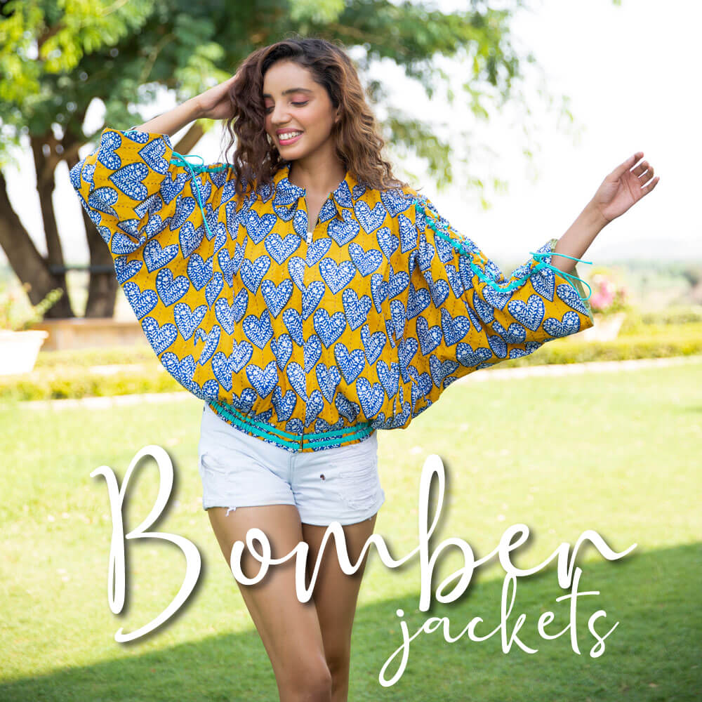 Women Kantha Bomber Jackets Cotton Shrugs - Pinklay