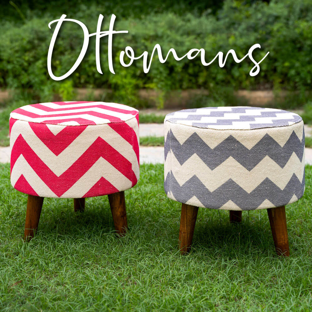 Wooden Ottomans Stools - Pinklay