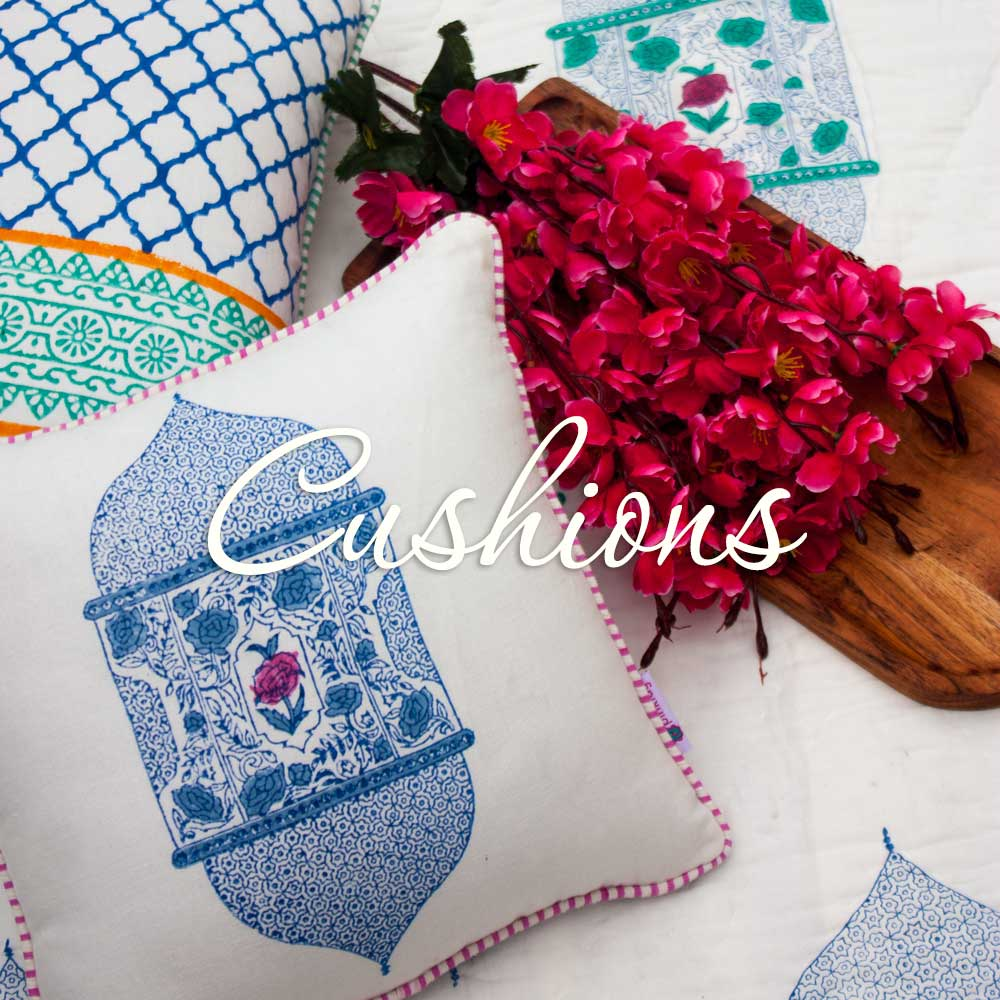 Cotton Hand Block Print Cotton Cushion Covers - Pinklay
