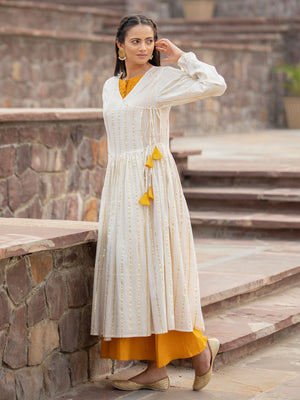 Set of 2- Sunheri Pintuck Dress With Angrakha Jacket
