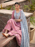 Set of 3 - Tabeer Sharara Set With Modal Silk Dupatta