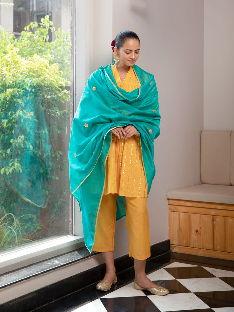 Set of 3 - Nilay Pintuck Dress With Chanderi Dupatta