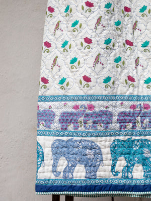 Rambagh Hand Block Print Jaipuri Razai, Cotton Quilt - Pinklay