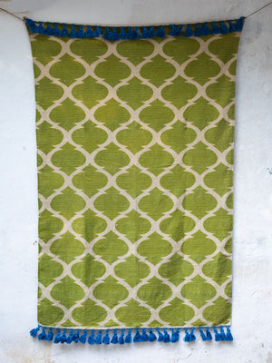 Rainforest Printed Handloom Cotton Dhurrie Rug - Pinklay