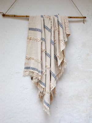 Snowfall Embellished Handwoven Throw with Tassels - Pinklay