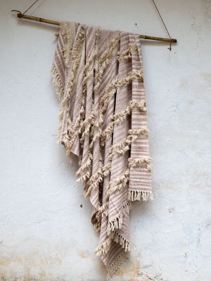 Everest Embellished Handwoven Throw with Tassels - Pinklay