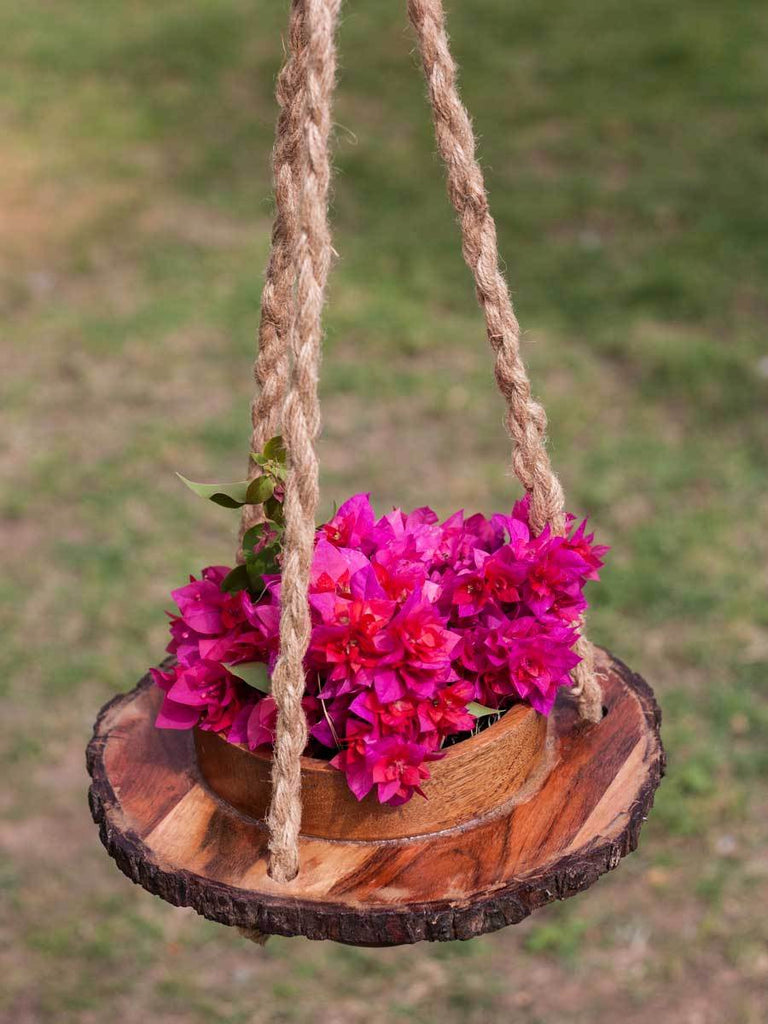 Springtime Wooden Hanging Planter with Live Bark Detail - Pinklay