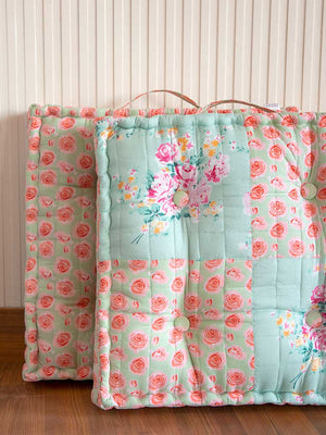 Bloom Buds Fabric Floor Cushions - Pinklay