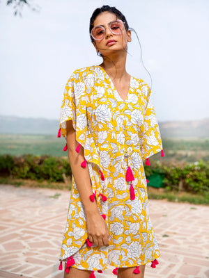 Hello Sunshine Hand Printed Cotton Short Kaftan - Pinklay
