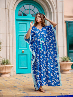 Blue Paradise Printed Cotton Kaftan - Pinklay