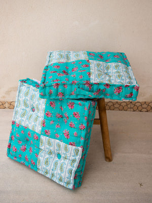 Coral Blossom Fabric Floor Cushions - Pinklay