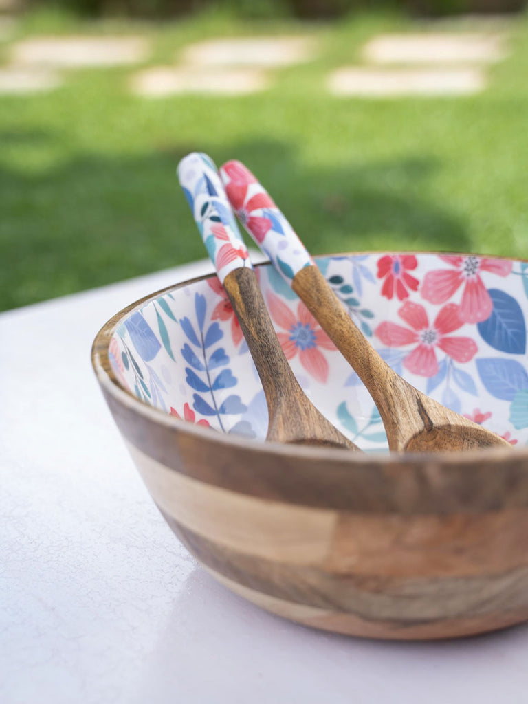 Blossom Delight Large Wooden Salad Bowl With Two Spoons