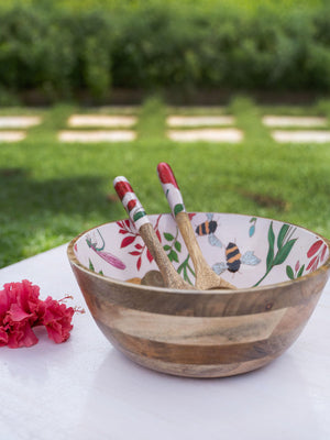 Summer House Large Wooden Salad Bowl With Two Spoons