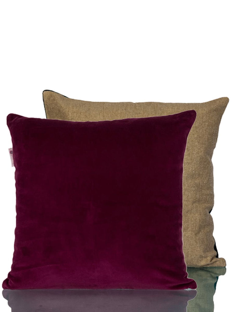 Orchid Burgundy Velvet Cushion Cover - Pinklay