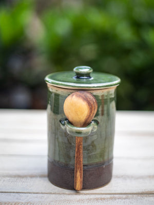 Emerald Hand-Thrown Ceramic Jar With Wooden Spoon - Pinklay
