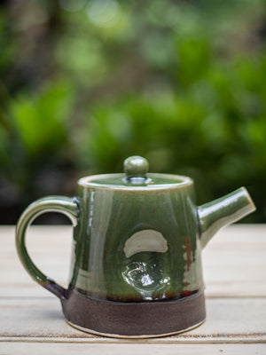Emerald Hand-Thrown Dimpled Ceramic Tea Pot - Pinklay