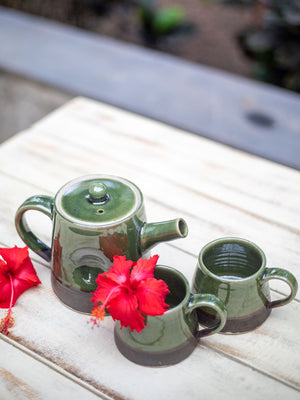 Emerald Hand-Thrown Dimpled Ceramic Tea Pot Set - Pinklay